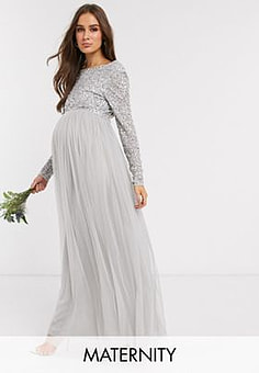 Maya Bridesmaid long sleeve maxi tulle dress with tonal delicate sequin overlay in silver-Grey