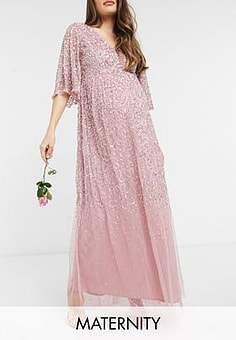 Maya Bridesmaid plunge front flutter sleeve delicate sequin maxi dress in pink