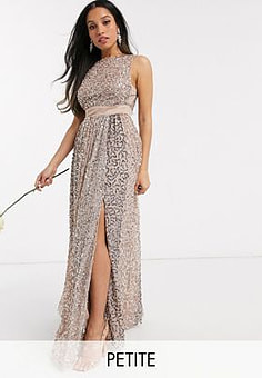 Maya allover contrast tonal delicate sequin dress with satin waist in taupe blush-Multi