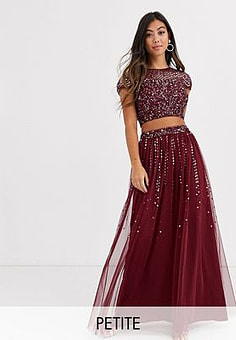 Maya Bridesmaid delicate sequin tulle skirt co ord in wine-Red