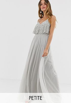 Maya delicate embellished overlay cami maxi dress in silver-Grey