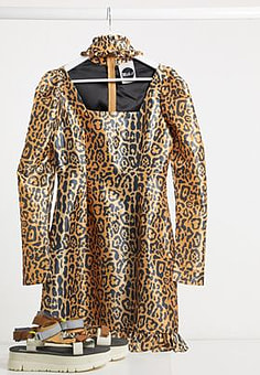 The Ragged Priest Milk It Vintage puff sleeve leopard dress with cut out detail-Brown