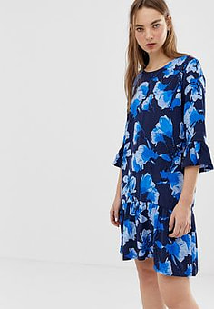 Minimum floral dress with fluted sleeves-Multi