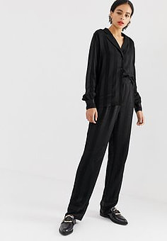 Minimum jacquard stripe trousers-Black