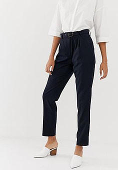 Minimum ring detail peg trousers-Navy