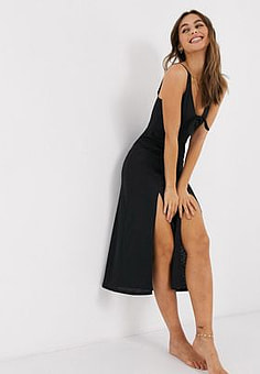 Miss Selfridge beach dress with knot front in black