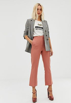 Miss Selfridge cropped trousers with kick flare in pink