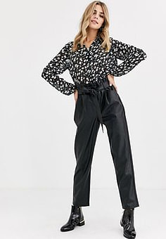 Miss Selfridge faux leather trousers with paperbag waist in black