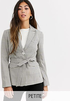 Miss Selfridge blazer with belt in check-Multi