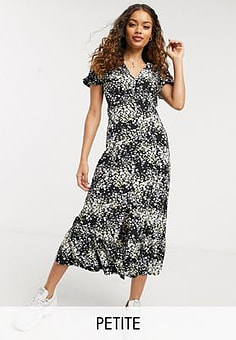 Miss Selfridge maxi dress in scattered black floral-Multi