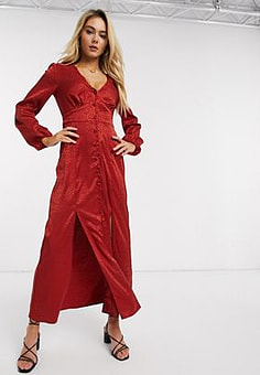 Miss Selfridge satin maxi dress in red