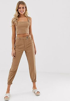 Miss Selfridge tapered trousers with belt in camel-Neutral
