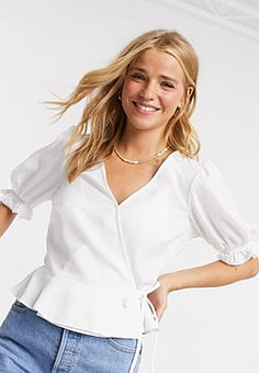 Miss Selfridge wrap blouse in ivory-Cream