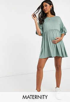 Missguided frill sleeve smock dress in green