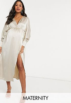 Missguided plunge maxi dress with slit in cream
