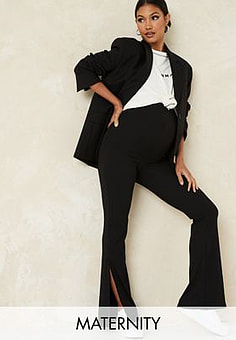 Missguided ribbed flares with split in black