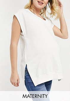 Missguided tank top with v neck in cream