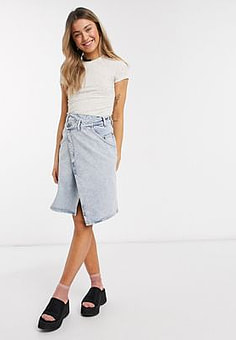Monki Ami organic cotton denim wrap skirt in beach blue