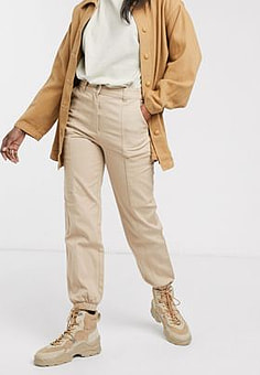 Monki cuffed cargo trousers in beige