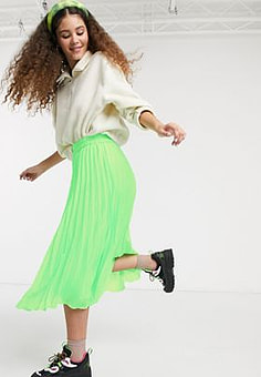 Monki high waist pleat midi skirt in neon green