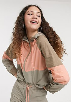 Monki hooded jacket with contrast piping in colour block-Multi