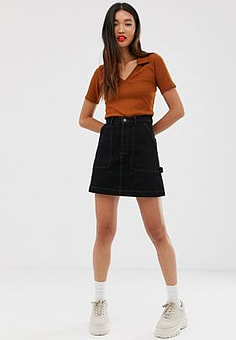 Monki organic cotton denim mini skirt in black-Blue