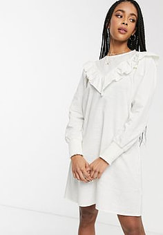 Monki ruffle detail smock dress in white