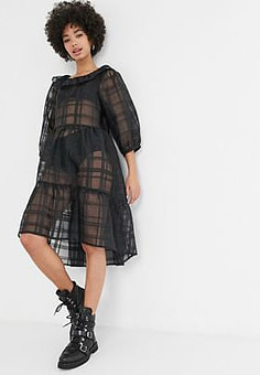 Monki ruffle neck checked organza skater dress in black