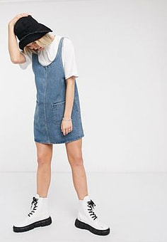 Monki scoop neck denim pinafore-Blue