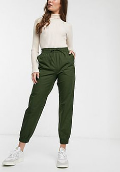 Monki tapered drawstring joggers in khaki green