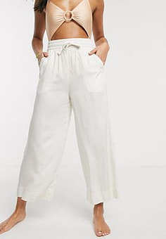 Monki tie-waist beach trousers in off-white