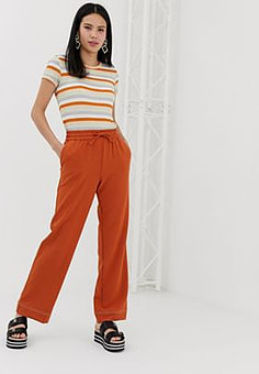 Monki wide leg joggers in rust-Brown