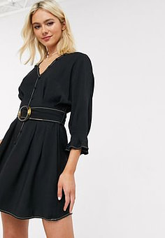 Moon River belted skater dress with balloon sleeve in black