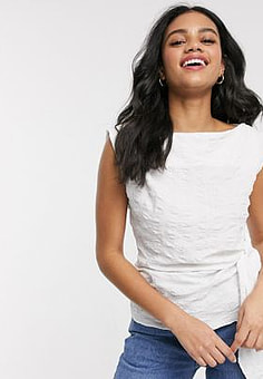 Moon River knot side sleeveless top in white