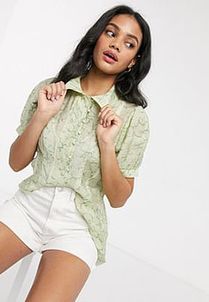 Moon River patterned organza shirt in lime multi-Green