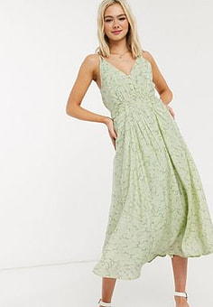 Moon River patterned ruched front midi dress in lime multi-Green