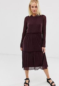 Minimum Moves by sheer midi dress-Brown