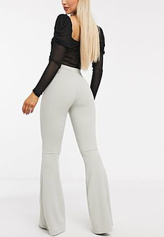 NaaNaa flared fitted trouser in sage green