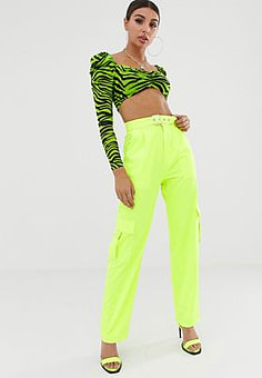 NaaNaa high waist combat trousers in neon lime-Green