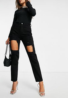 NaaNaa high waisted extreme rip mom jeans in black