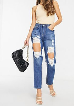 NaaNaa high waisted extreme rip mom jeans in stonewash blue-Grey