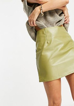 NaaNaa high waisted faux leather skirt in sage green