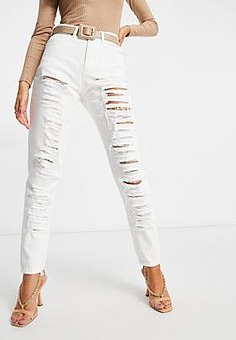 NaaNaa high waisted ripped mom jeans in white