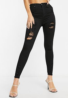 NaaNaa high waisted ripped skinny jeans in black