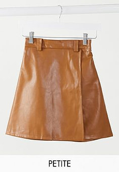 NaaNaa high waisted faux leather skirt in tan-Brown