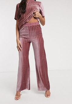 NaaNaa relaxed velvet trouser co ord in pink
