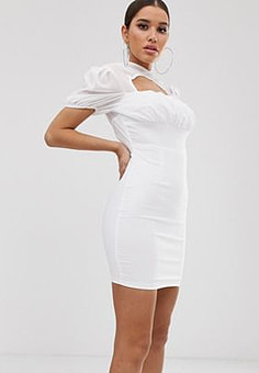 NaaNaa ruched mini dress with sheer halter neck in white