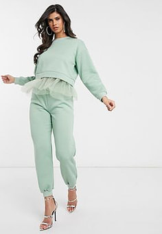 NaaNaa slim jogger co ord in green