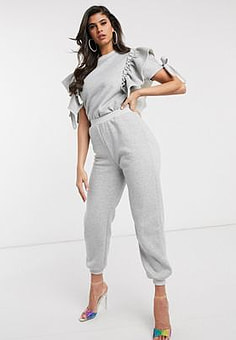 NaaNaa slim jogger co ord in grey marl