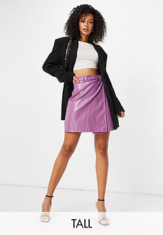 NaaNaa high waisted faux leather skirt in lilac-Purple